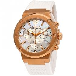 Salvatore Ferragamo Mother of Pearl Rose Gold Ion Plated Stainless Steel F-80 Women's Wristwatch 39MM