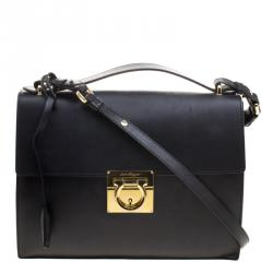 da4e97785c Salvatore Ferragamo Black Leather Gancio Lock Shoulder Bag