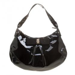 bf77e92fc6 Salvatore Ferragamo Black Patent Leather Miss Vara Hobo