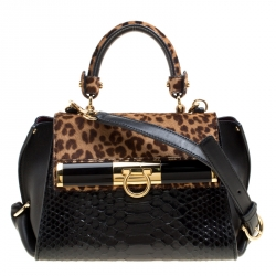cd83c8b48438 Salvatore Ferragamo Black Brown Leapard Print Calf Hair and Python Medium  Sofia Top Handle Bag