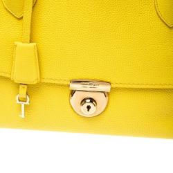 Salvatore Ferragamo Yellow Leather Fiamma Tote