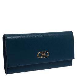 Salvatore Ferragamo Blue Leather Double Gancio Continental Wallet