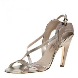 5eeaec547b3f Salvatore Ferragamo Pearl Finish Grey Leather Criss Cross Open Toe Sandals  Size 36