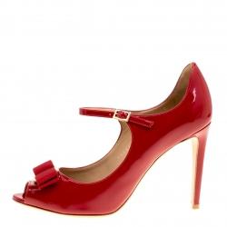 86006de598c15 Salvatore Ferragamo Red Patent Leather Mood Vara Bow Peep Toe Mary Jane  Pumps Size 37.5