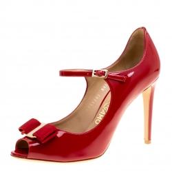 1f288d31d7e Salvatore Ferragamo Red Patent Leather Mood Vara Bow Peep Toe Mary Jane  Pumps Size 37.5