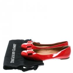 Salvatore Ferragamo Red Patent Leather Varina Ballet Flats Size 37.5