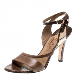 e2003e7bbd8d Salvatore Ferragamo Brown Leather And Lizard Leather Ankle Wrap Sandals  Size 37.5