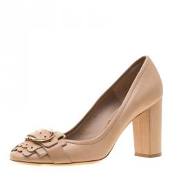 72c5ae7ac6 Salvatore Ferragamo Beige Leather Elga Fringe Detail Block Heel Pump Size  39.5