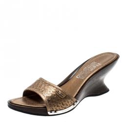 5fdb02a8f0 Salvatore Ferragamo Metallic Gold Python Leather Open Toe Wedge Slides Size  38.5