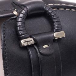 Salvatore Ferragamo Gancino Bit Black Leather Drivers Size 40