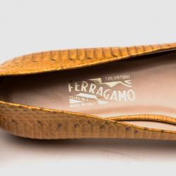 Salvatore Ferragamo Beige Embossed Logo Buckle 'Sun' Ballet Flats Size 40