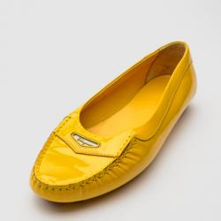 Salvatore Ferragamo Yellow Leather Driving Loafers Size 38.5
