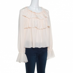 See by Chloe Sheer Pastel Pink Silk Tiered Ruffle Detail Blouse L