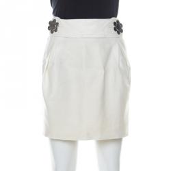 See by Chloe Off-White Linen Metal Flower Fastening Detail Belted  Mini Skirt M