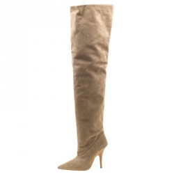 Yeezy Season 5 Beige Suede Thigh High Pointed Toe Boots Size 37