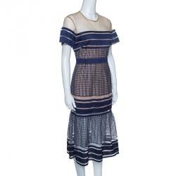 Self-Portrait Navy Blue Stripe Embroidered Mesh Column Midi Dress M