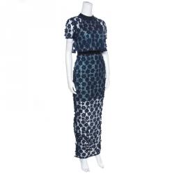 فستان ماكسي سيلف بورتريه 60's طبقة دانتيل  أزرق كحلي مورد S