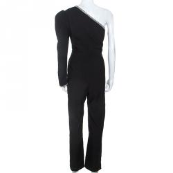 Self-Portrait Black Crepe Crystal Embellished One Shoulder Jumpsuit M