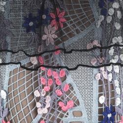 Self Portrait Multicolor Floral Vine Embroidered Mini Dress S