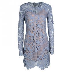 فستان سيلف بورتريت ميني أكمام طويلة دانتيل جيوبيور زهور 3D أزرق M