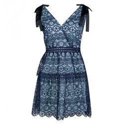 فستان ميني سيلف بورتريه جيبير أزرق كحلي  بأربطة مزينة طبقات M