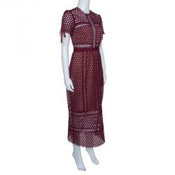 Self Portrait Burgundy Embroidered Lace Column Midi Dress M