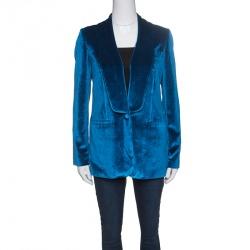 بليزر سيلف بورتريت مفصل قطيفة أزرق طاووسي S