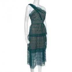 فستان ميدي سيلف بورتريه دانتيل جيبير أخضر مورد طبقة واحدة كتف واحد XS