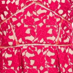 فستان ميدي سيلف بورتريه أزاليا دانتيل جيبير أحمر مورد بحمالات رفيعة M