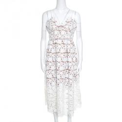 3ce2d7d6881 Self Portrait White Floral Guipure Lace Noodle Strap Azaelea Midi Dress M