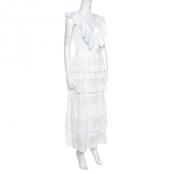 فستان ميدي سيلف بورتريه فيكتوريا دانتيل أبيض طبقات بلا أكمام L