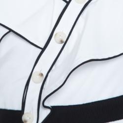 فستان سيلف بورتريه قطن أبيض حرير متباين حواف مزينة بكشكشة غير متساوي S