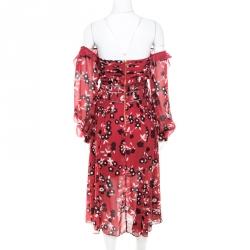 Self Portrait Red and Black Floral Printed Lace Insert Off Shoulder Dress S