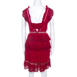 Self Portrait Red Crepe Eyelet Embroidered Tiered Sleeveless Peplum Dress M