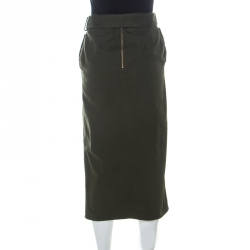 Self Portrait Green Stretch Cotton Asymmetric Belted Midi Skirt S