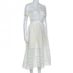 Self-Portrait White Crochet Knit Midi Dress M