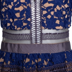 Self Portrait Blue Guipure Lace & Mesh Paneled Liliana Midi Dress S
