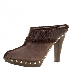 Sergio Rossi Brown Suede Stud Trim Wooden Platform Pointed Toe Mules Size 40
