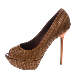 9f9411059fd Sergio Rossi Brown Woven Leather Peep Toe Platform Pumps Size 41