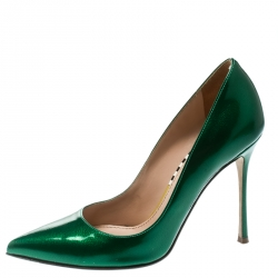 Sergio Rossi Green Patent Leather Pointed Toe Pumps Size 35.5
