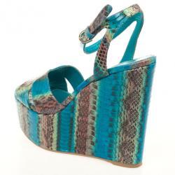 Sergio Rossi Blue Snakeskin Wedges Sandals Size 38