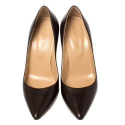 Sergio Rossi Brown Leather Pointed Toe Pumps Size 35