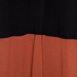 Sonia Rykiel Black and Burnt Orange Colorblock Knit Sleeveless Maxi Dress L