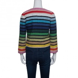 Sonia Rykiel Rainbow Striped Textured Cropped Jacket  S