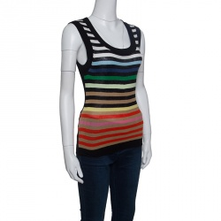 Sonia Rykiel Rainbow Striped Silk and Cotton Knit Sleeveless Tank Top  S