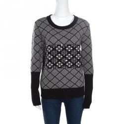Sonia Rykiel Monochrome Diamond Pattern Wool Embellished Crew Neck Sweater L