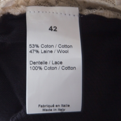 Sonia Rykiel Black Wool Blend Floral Lace Panel Cropped Cardigan L