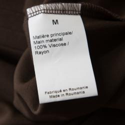 Sonia Rykiel Brown Contrast Trim Detail Long Sleeve Dress M