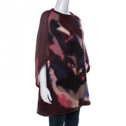 Sonia Rykiel Burgundy Knit Raglan Sleeve Cocoon Sweater M