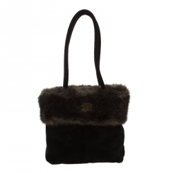 Sonia Rykiel Black/Olive Green Fur and Suede Tote